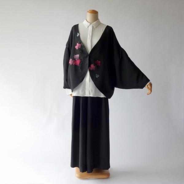 蝶袖羽織KIMONOカーディガン(正絹羽織から制作)