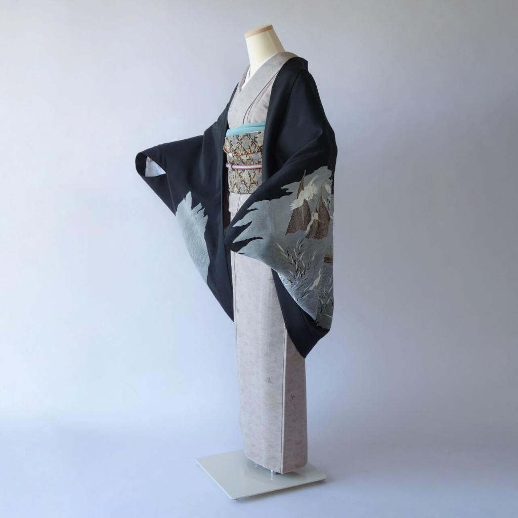 アオサギのモモンガ着物羽織