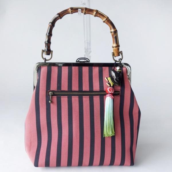 里すずめねぐらの仮宿 博多帯と竹ハンドルのバッグ