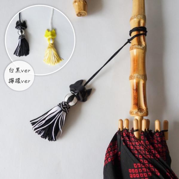 刺繍巻き玉と狐面の帯飾り兼日傘タッセル