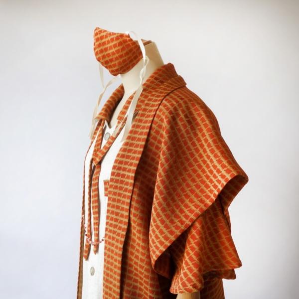 リネン×フレア袖と付け衿のトップス/アンクルツータックボトムス/長羽織 正絹新反物から作った3ピース