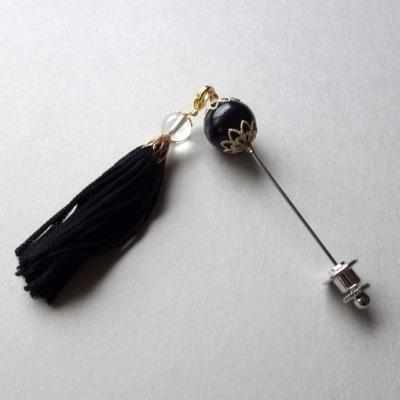 かんざし風タッセル付きピン(生地に負担をかけにくい 刺さりやすい細くて丈夫なピン使用)国産高品質キャッチ