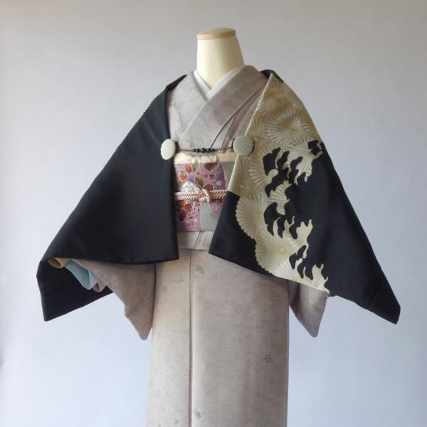 モモンガKIMONO羽織(青海波菊)/ストールにもなる軽くて便利な万能着回しアイテム/着物、洋装にも