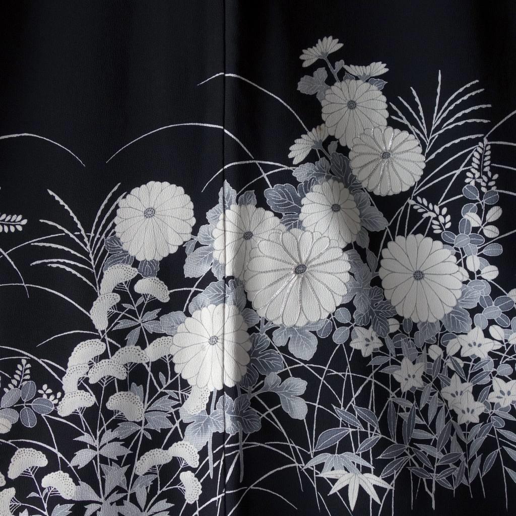 モノトーン菊のモモンガ着物羽織
