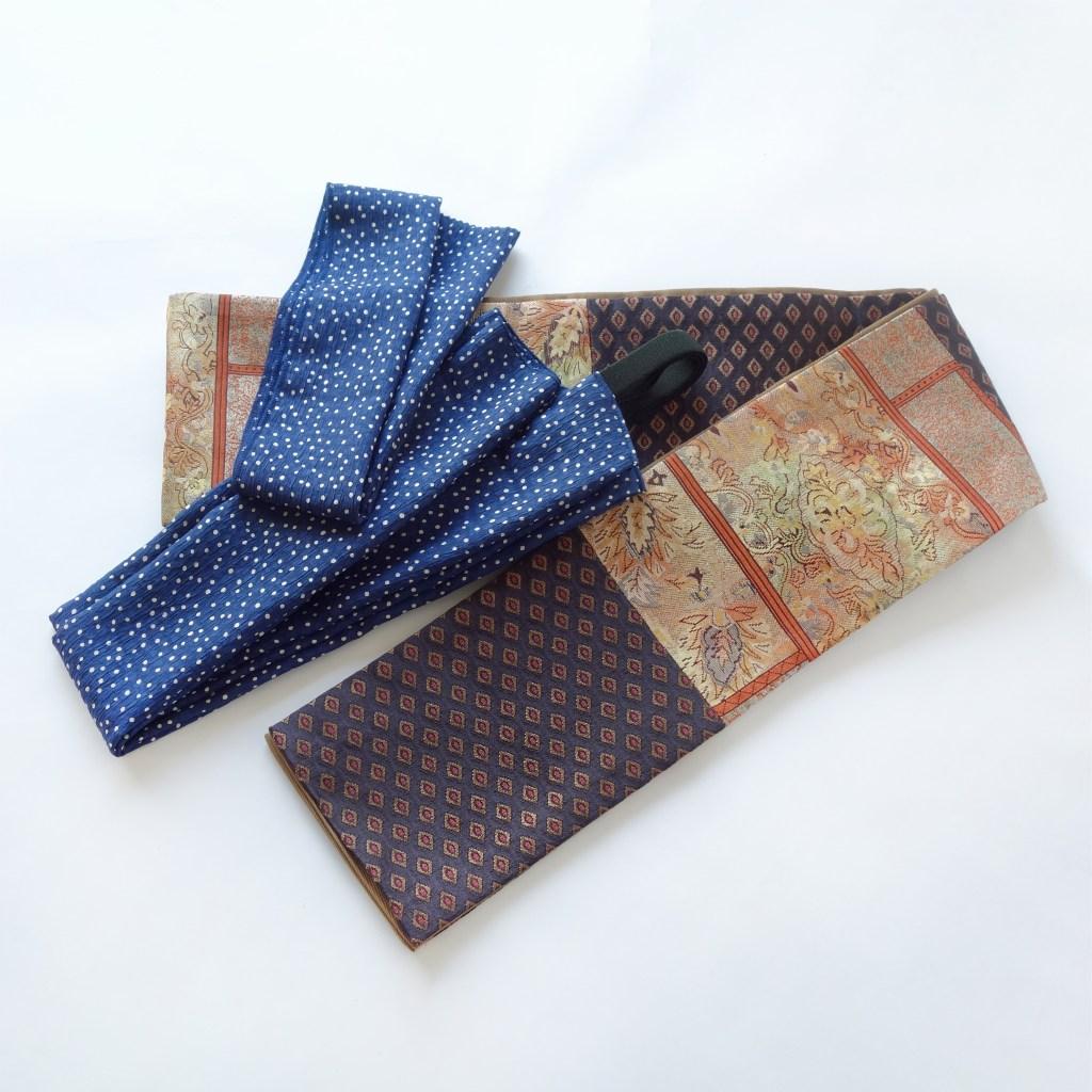 半幅帯と便利なシルクの帯あげ風三重仮紐・半衿セット_和遊湘南