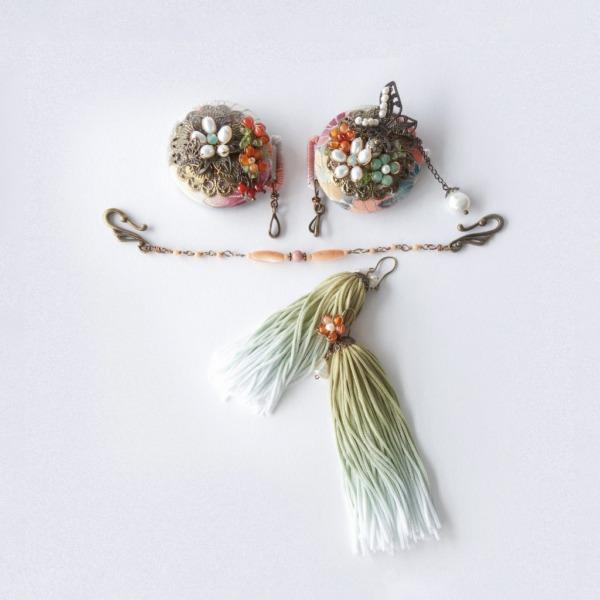 KIMONOクリップブローチ/豊穣(着物などの高級生地を傷めにくいシリコンゴム付き)
