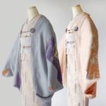 薄桃色の色留袖と青鼠・江戸紫の訪問着で作ったリバーシブルモモンガ着物羽織