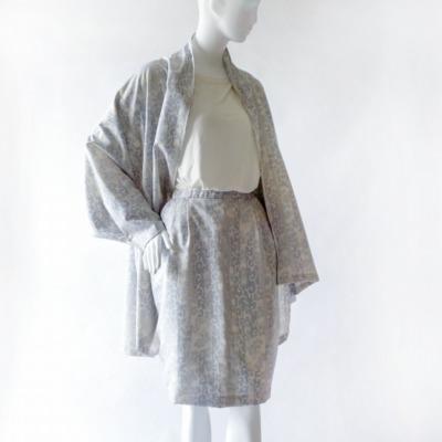 大島紬の単衣ジャケットと裏付きスカートセットアップ