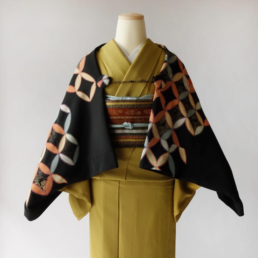 黒留袖リメイク/七宝つなぎのモモンガ着物羽織/セミオーダーメイド制作