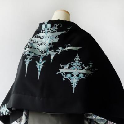 モモンガKIMONO羽織(青華菊模様)/ショールにもなる軽くて便利な万能着回しアイテム