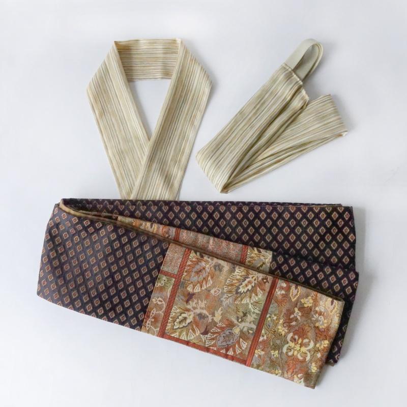 ジャガードの半幅帯セット 絹100%の三重仮紐・半衿 サンドベージュストライプ
