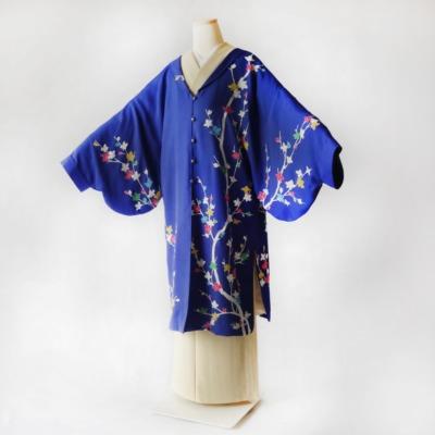 訪問着から制作したデザイン袖のスリット入り羽織コートHITATARE(和洋兼用)/華花火/ 正絹 着物リメイク